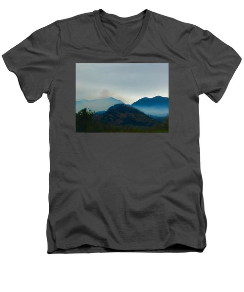 Montana Mountains Men's V-Neck T-Shirt by Suzanne Lorenz
