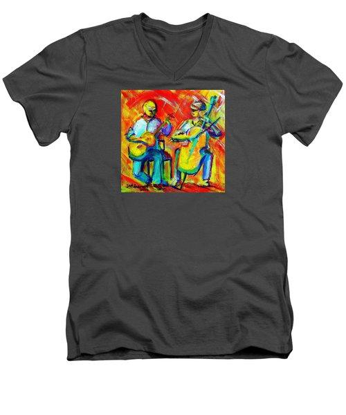 Montana Skies Performance Men's V-Neck T-Shirt by Jeanette Jarmon