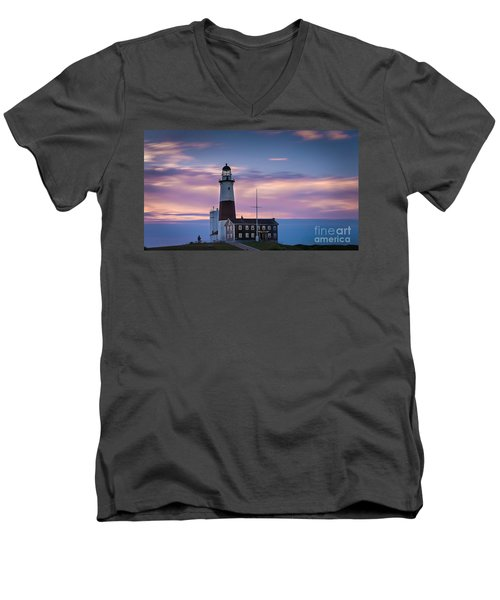 Montauk Lighthousepastel  Sunrise Men's V-Neck T-Shirt