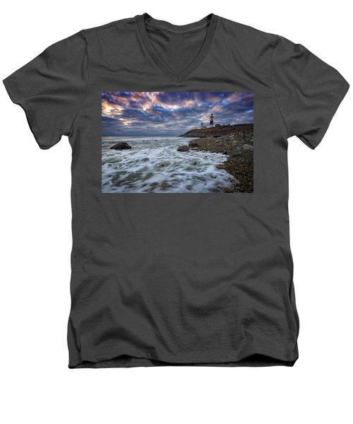 Montauk Morning Men's V-Neck T-Shirt by Rick Berk