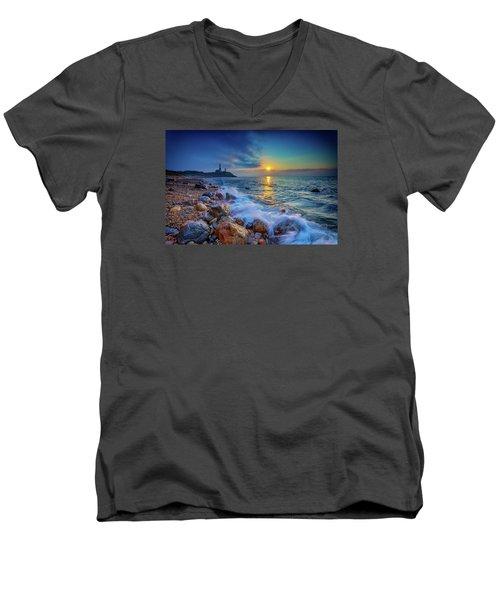 Montauk Sunrise Men's V-Neck T-Shirt by Rick Berk