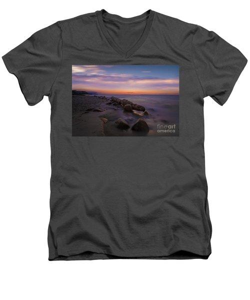 Montauk Sunset Boulders Men's V-Neck T-Shirt