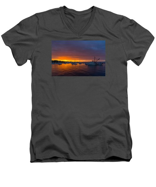 Monterey Marina Sunset Men's V-Neck T-Shirt by Derek Dean