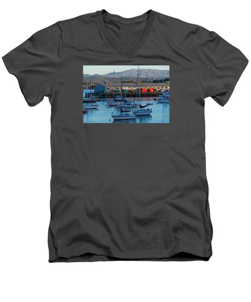 Monterey Wharf At Sunset Men's V-Neck T-Shirt by Derek Dean