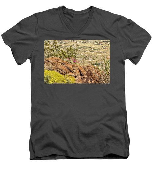 Montezuma Rd Cliff Side Flower Garden Men's V-Neck T-Shirt