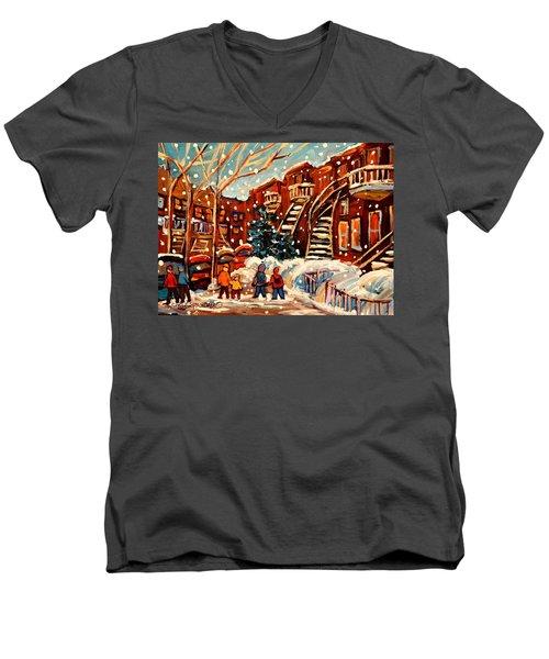 Montreal Street In Winter Men's V-Neck T-Shirt