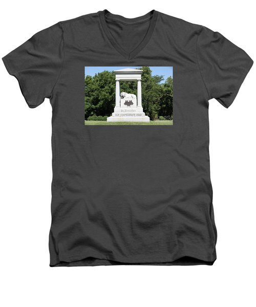 Monument At Higginsville   Missouri Men's V-Neck T-Shirt