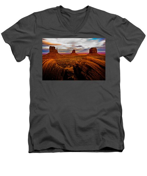 Men's V-Neck T-Shirt featuring the photograph Monument Valley by Harry Spitz