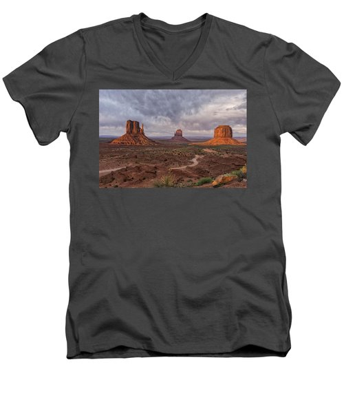 Monument Valley Mittens Az Dsc03662 Men's V-Neck T-Shirt by Greg Kluempers