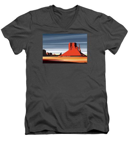 Monument Valley Sunset Digital Realism Men's V-Neck T-Shirt by Sassan Filsoof