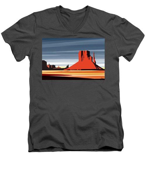 Monument Valley Sunset Digital Realism Men's V-Neck T-Shirt