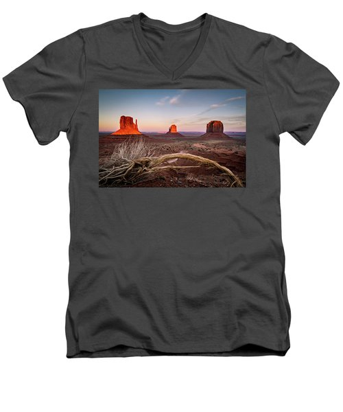 Men's V-Neck T-Shirt featuring the photograph Monument Valley Sunset by Wesley Aston