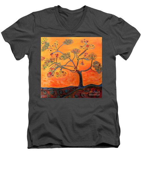 Orange Flamboyan Men's V-Neck T-Shirt