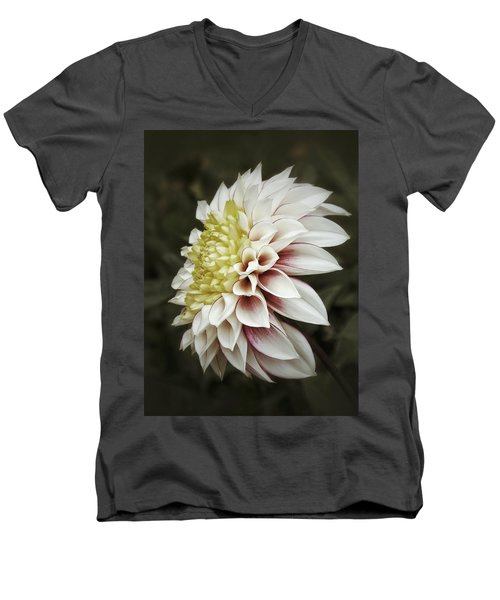 Men's V-Neck T-Shirt featuring the photograph Moody Dahlia  by Karen Stahlros