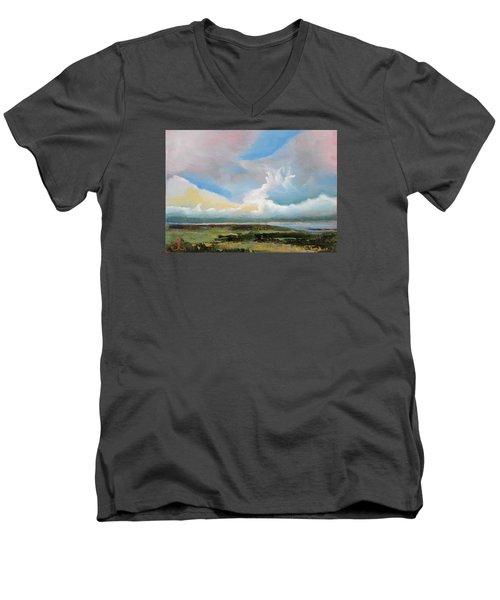 Moody Skies Men's V-Neck T-Shirt by Trina Teele