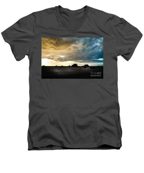 Moody Sky, Dungeness Beach  Men's V-Neck T-Shirt