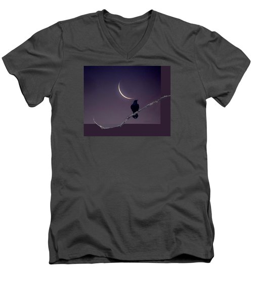 Men's V-Neck T-Shirt featuring the photograph Moon And Raven Abstract by Deborah Moen