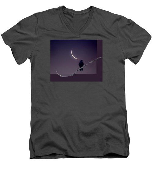 Raven Under Crescent Moon Men's V-Neck T-Shirt