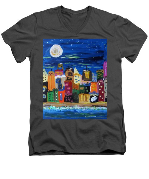 Moon And Sea Waves Men's V-Neck T-Shirt