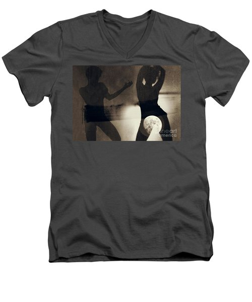 Moon And Then Men's V-Neck T-Shirt by Jessica Shelton