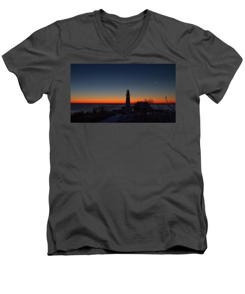 Moon And Venus - Headlight Sunrise Men's V-Neck T-Shirt