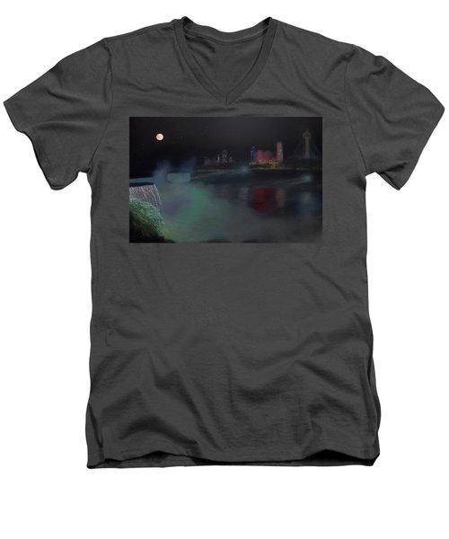 Moon At Niagara  Men's V-Neck T-Shirt