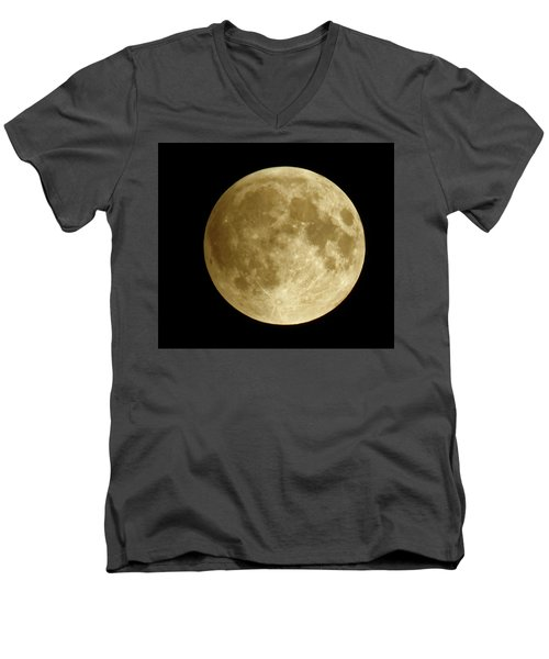 Moon During Eclipse Men's V-Neck T-Shirt