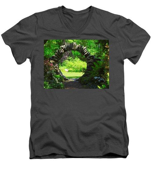 Moon Gate At Kinney Azalea Gardens Men's V-Neck T-Shirt by Catherine Gagne