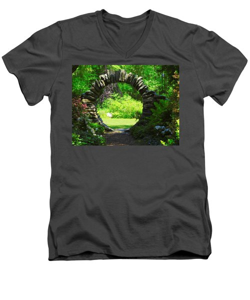 Moon Gate At Kinney Azalea Gardens Men's V-Neck T-Shirt