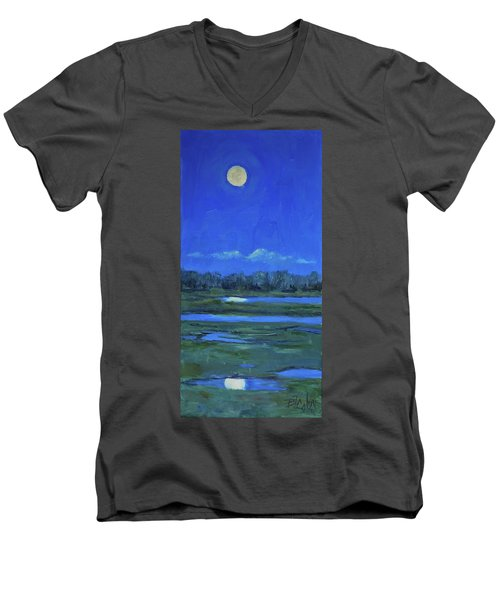 Men's V-Neck T-Shirt featuring the painting Moon Light And Mud Puddles by Billie Colson