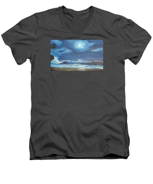 Moon Light Night In Paradise Men's V-Neck T-Shirt by Lloyd Dobson