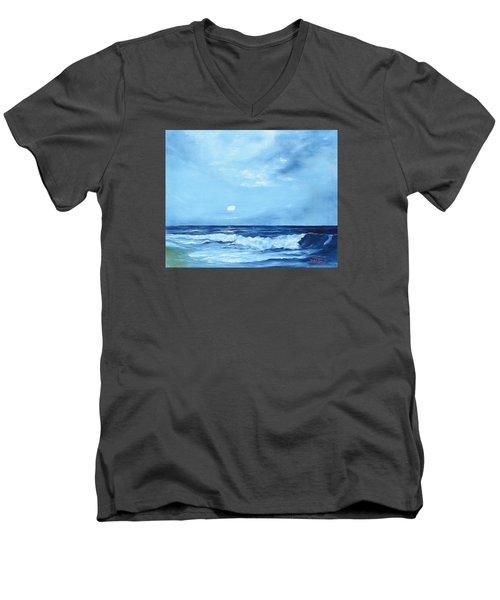 Moon Light Night Wave Men's V-Neck T-Shirt by Lloyd Dobson