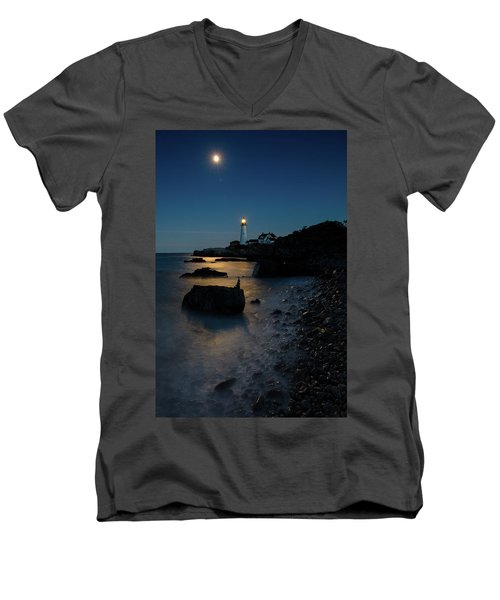 Men's V-Neck T-Shirt featuring the photograph Moon Light Over The Lighthouse  by Emmanuel Panagiotakis