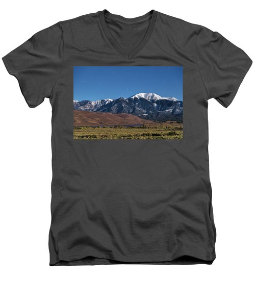 Moon Lit Colorado Great Sand Dunes Starry Night  Men's V-Neck T-Shirt by James BO Insogna