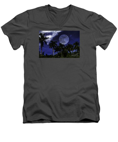 Moon Over Belize Men's V-Neck T-Shirt by Ken Frischkorn