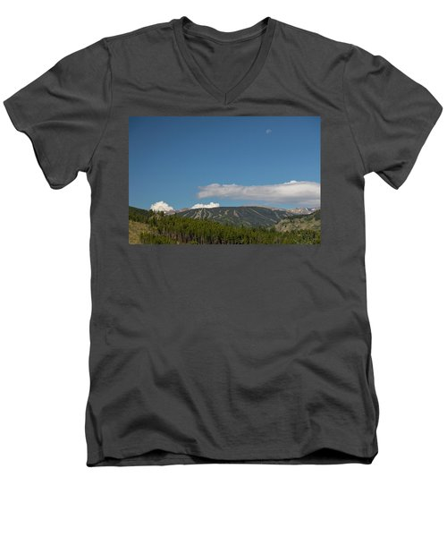 Men's V-Neck T-Shirt featuring the photograph Moon Over Eldora Summer Season Ski Slopes by James BO Insogna