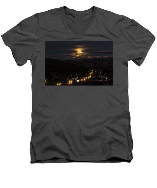 Moon Over Genessee Men's V-Neck T-Shirt