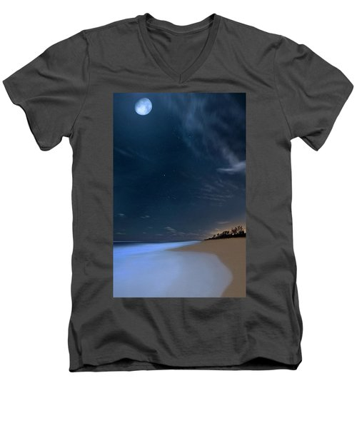 Moon Over Hobe Sound Beach Florida  Men's V-Neck T-Shirt