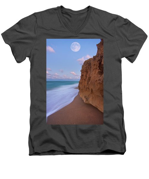 Moon Over Hutchinson Island Beach Men's V-Neck T-Shirt by Justin Kelefas