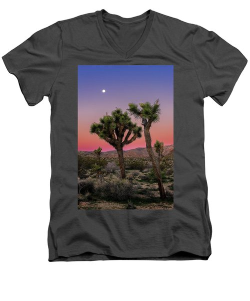 Moon Over Joshua Tree Men's V-Neck T-Shirt