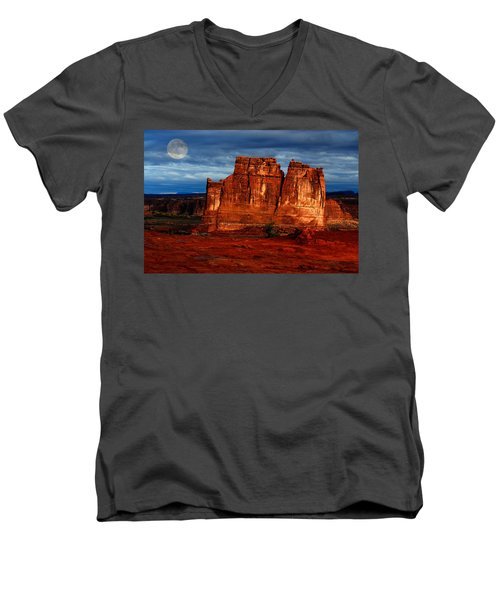 Men's V-Neck T-Shirt featuring the photograph Moon Over La Sal by Harry Spitz