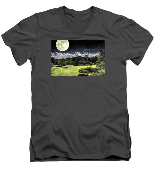 Moon Over Mayan Temple One Men's V-Neck T-Shirt by Ken Frischkorn