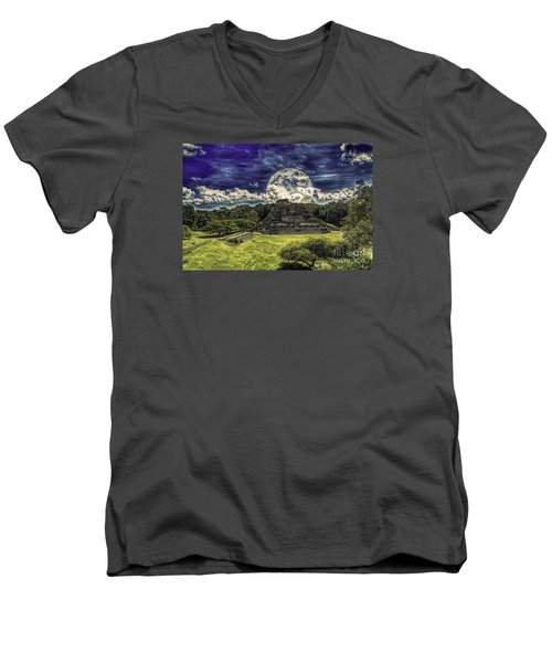 Moon Over Mayan Temple Two Men's V-Neck T-Shirt by Ken Frischkorn