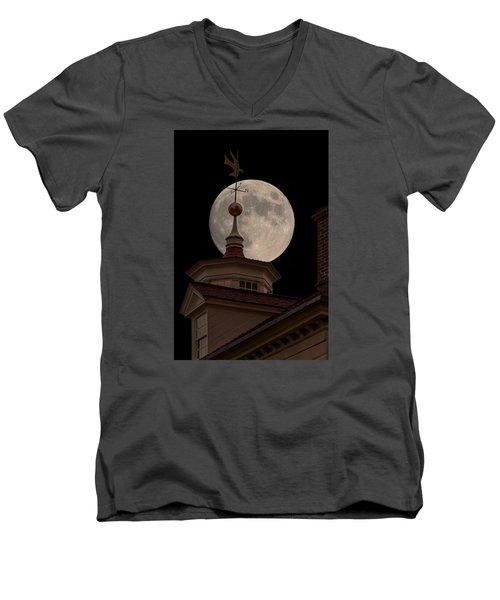 Moon Over Mount Vernon Men's V-Neck T-Shirt by Ed Clark