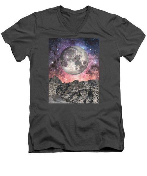 Men's V-Neck T-Shirt featuring the digital art Moon Over Mountain Lake by Phil Perkins