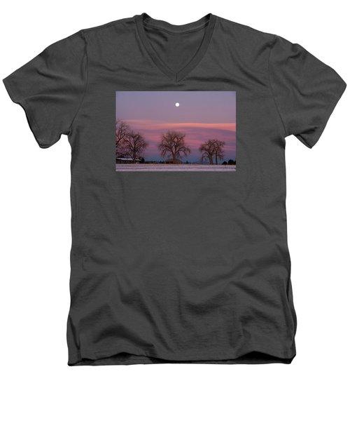 Moon Over Pink Llouds Men's V-Neck T-Shirt by Monte Stevens