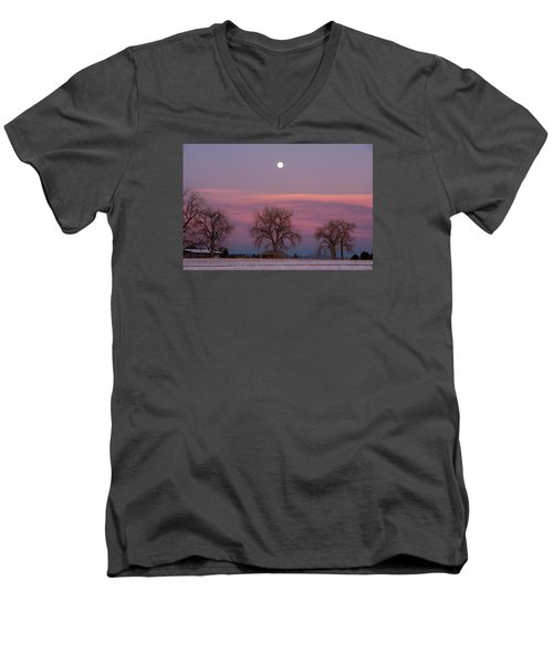 Moon Over Pink Llouds Men's V-Neck T-Shirt