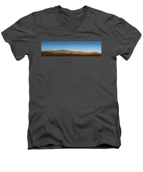 Moon Over Pintada Mountain At Sunrise In The San Juan Mountains, Men's V-Neck T-Shirt