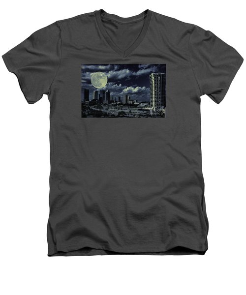 Moon Over Tampa Two Men's V-Neck T-Shirt by Ken Frischkorn