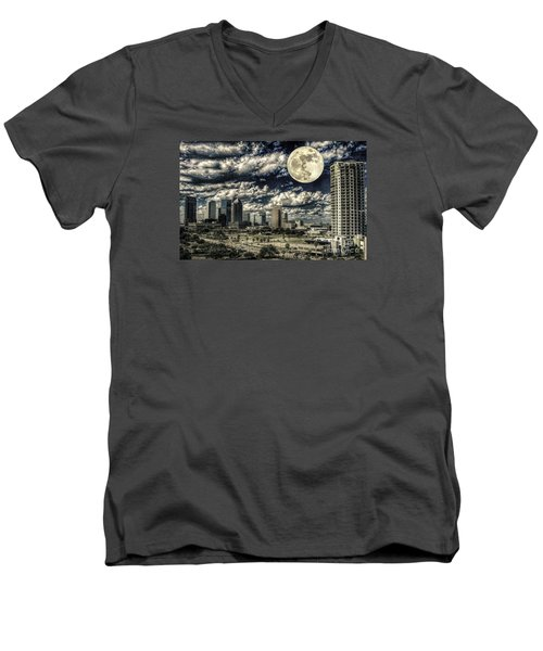 Moon Over Tampa One Men's V-Neck T-Shirt by Ken Frischkorn